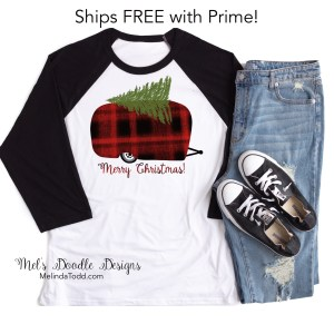 Camp Trailer Buffalo Plaid Christmas Shirt by Mel's Doodle Designs