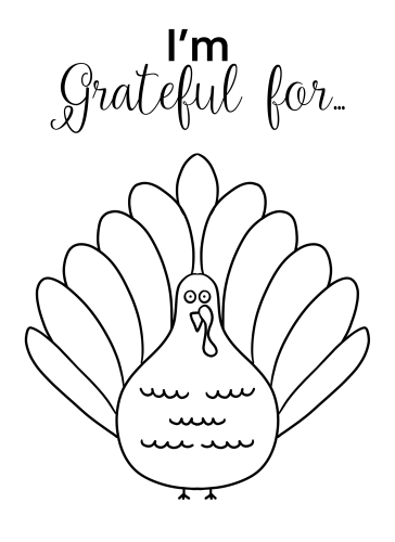 Grateful Turkey Free Printable Coloring Page by Mel's Doodle Designs