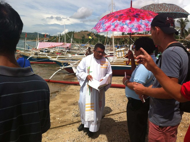 To open the ceremony the five (5) boats are blessed by Father Nolan C. Machan. Matt Kennedy also attended the ceremony.