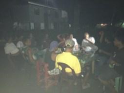 All the men sat together.