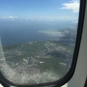 Flying into Tacloban you can see the rivermouth still swollen from flooding.