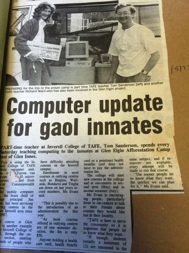 Richard Ward teaching computers at the gaol