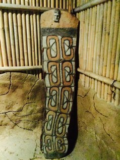 a beautiful tribal shield hiding in a dark corner at singapore zoo