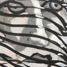 grayscale mural of a ladies face behind ribbonish stuff