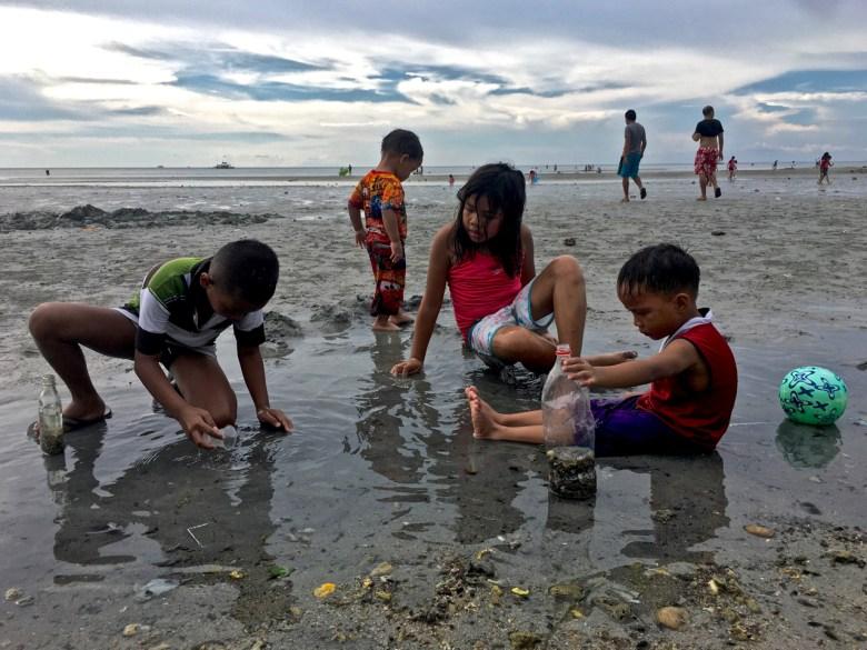 kids on the beach catching tiny fish