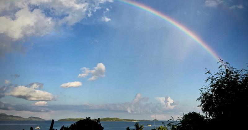 twin rainbows over the sea