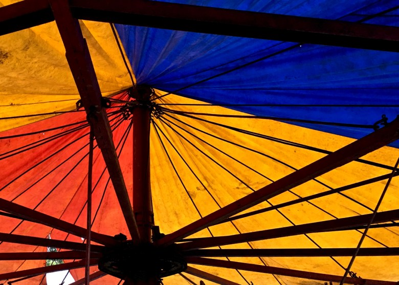 red yellow and blue tarp
