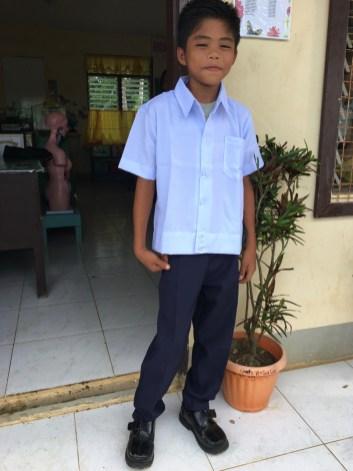 roy in his new school uniform