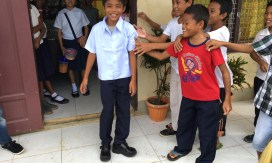 Filipino boy in his new school uniform