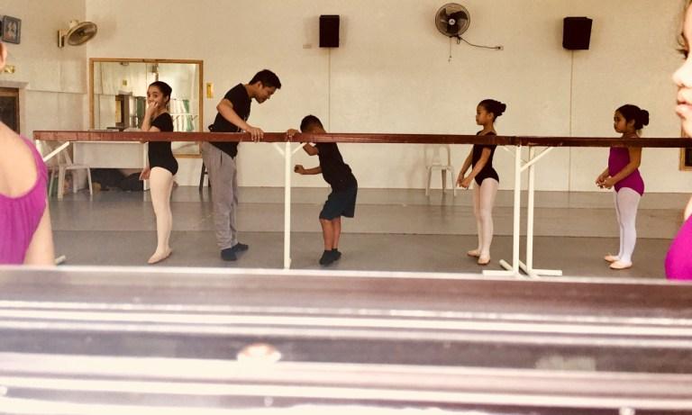 little boy at ballet class