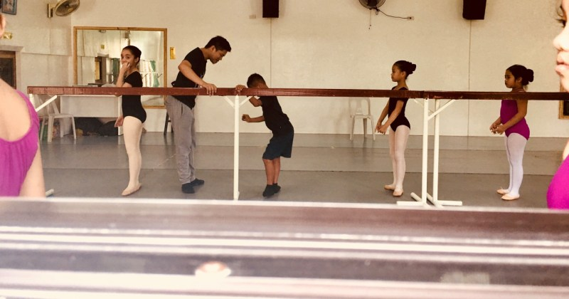 little boy at ballet class