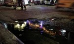 lights shining in a puddle