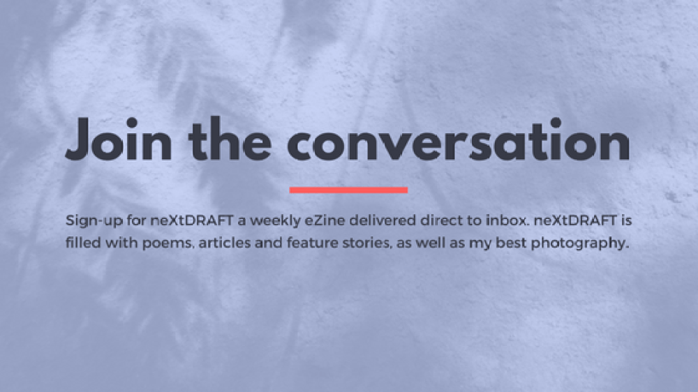 sign up for neXtDRAFT a weekly eZine by Melinda J. Irvine