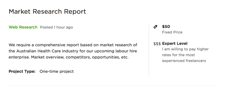 market research job on upwork