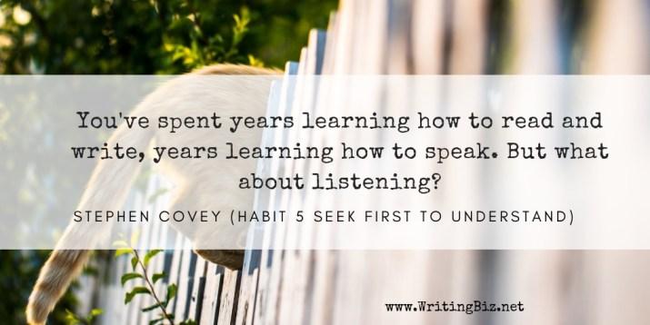 Melinda J. Irvine - freelance writer -- learning to listen