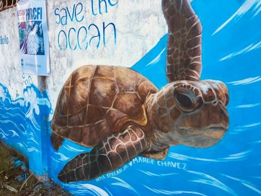sea turtle mural - save the ocean v1