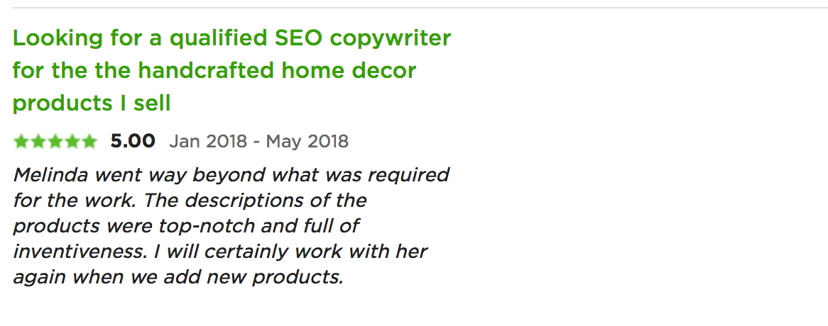 testimonial for melinda j. irvine (home decor)