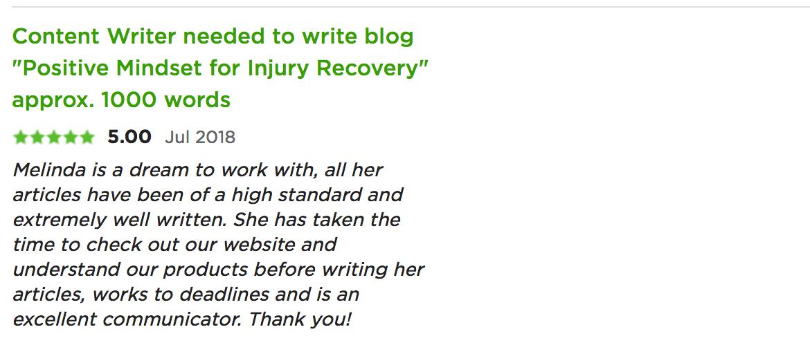 testimonial for melinda j. irvine injury recovery blog