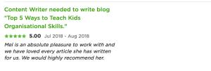 testimonial for melinda j. irvine (kids blog)