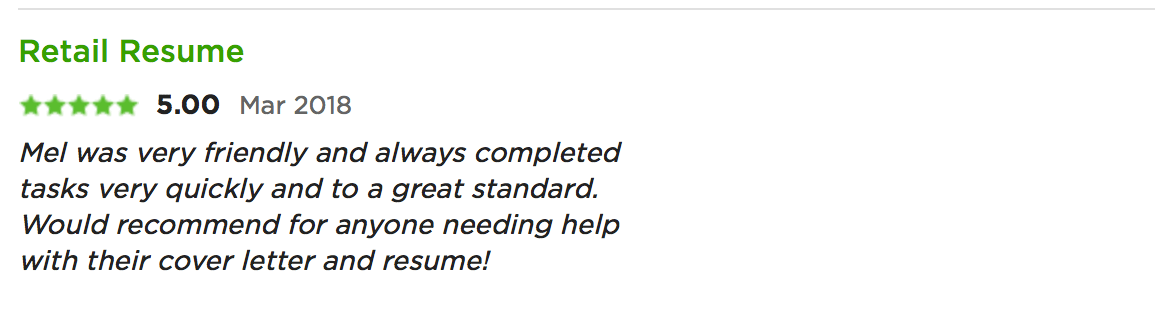 testimonial for melinda j. irvine (retail resume)