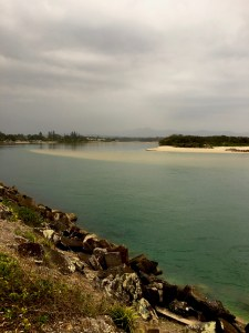 Looking back the Kalang River from Urunga Heads