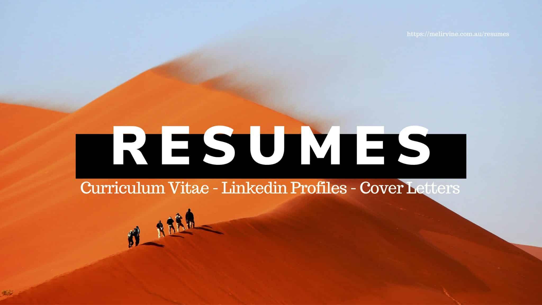 resumes, linkedin profiles, CVs and cover letters @ Melinda J. Irvine