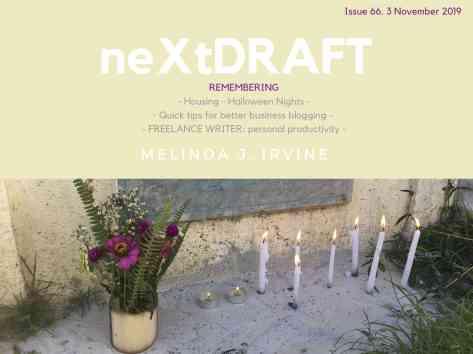 neXtDRAFT an eZine by Melinda J. Irvine Issue 66.