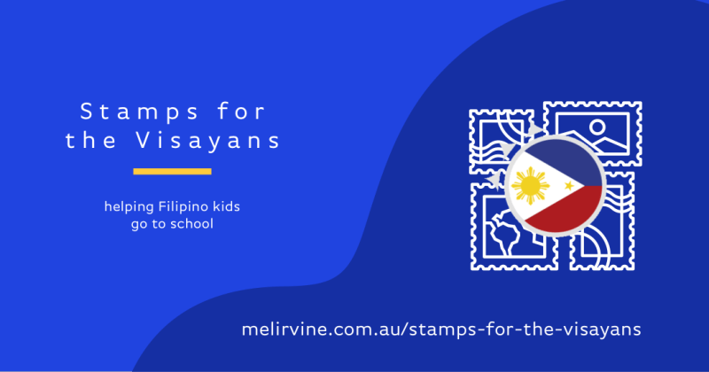 stamps for the visayans banner selling stamps to help Filipino kids go to school