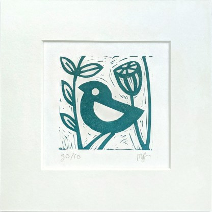 Small lino print by Melissa Birch, showing Little Blue Bird in teal on white background