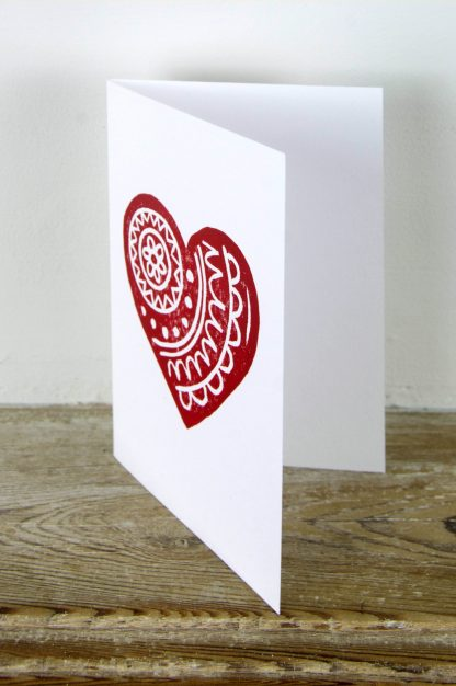 Hand printed card by artist Melissa Birch with loveheart design