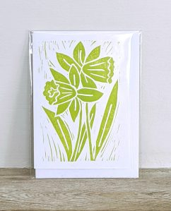 Hand printed card by artist Melissa Birch with Green Stems design