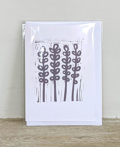 Hand printed card by artist Melissa Birch with Lavender design