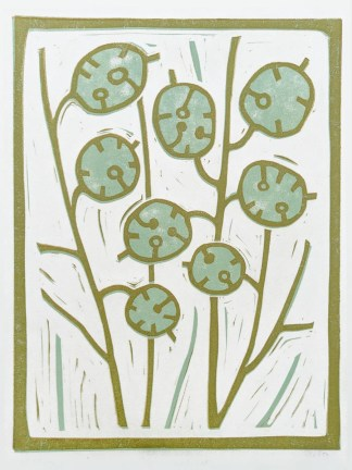 Floral lino print by artist Melissa Birch, Honesty seedheads in muted colours