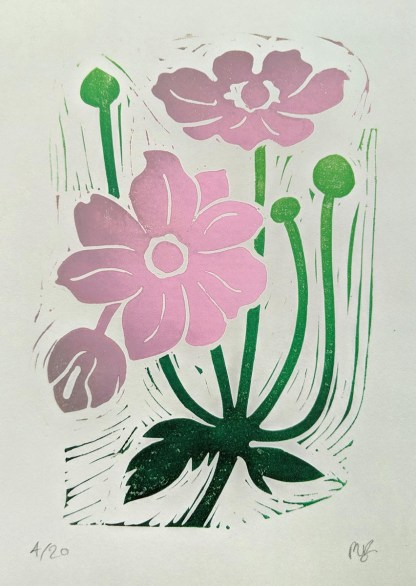 Colourful lino print by Melissa Birch showing Japanese Anemone flowers in bud and bloom