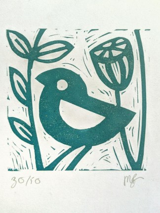 Small lino print by Melissa Birch, Little Blue Bird