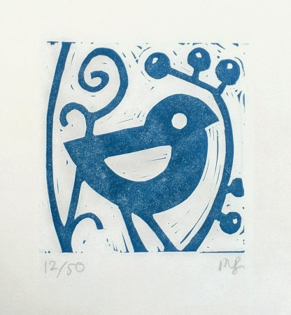 Lino print artwork by Melissa Birch, Blue Bird's Friend