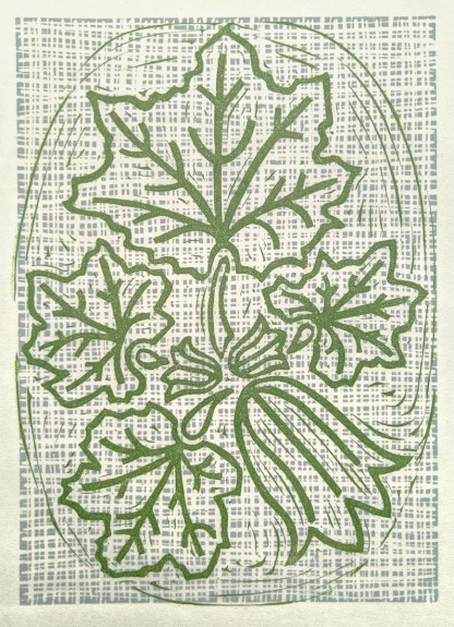 lino print by Melissa Birch of a Courgette plant in green on patterned background