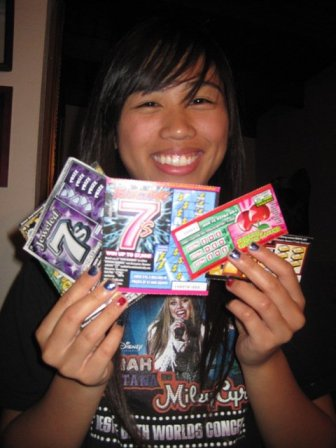Excited for those lottery tickets! Don't judge my Hannah Montana shirt!