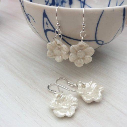 pearl flower earrings