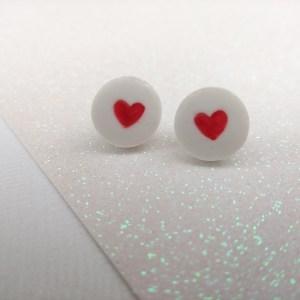 ceramic heart stud earrings valentines day