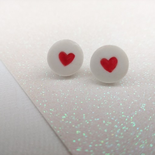 ceramic heart stud earrings valentines day