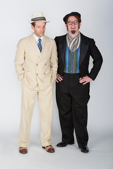 (from left) Glenn Howerton stars as Antipholus of Ephesus/Antipholus of Syracuse and Rory O'Malley as Dromio of Ephesus/Dromio of Syracuse in The Old Globe's 2015 Summer Shakespeare Festival production of The Comedy of Errors, directed by Scott Ellis, Aug. 16 - Sept. 20, 2015. Photo by Jim Cox.