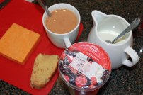 Sarah's GF corn bread, English Cheddar and a cup of tea.