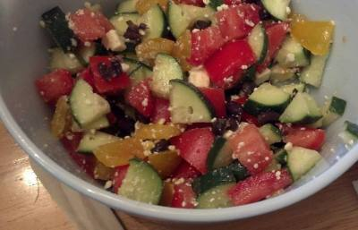 Cucumber, Tomato, Black Bean and Feta Salad