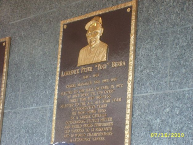 Yogi Berra Plaque - Old Timers Day 2010