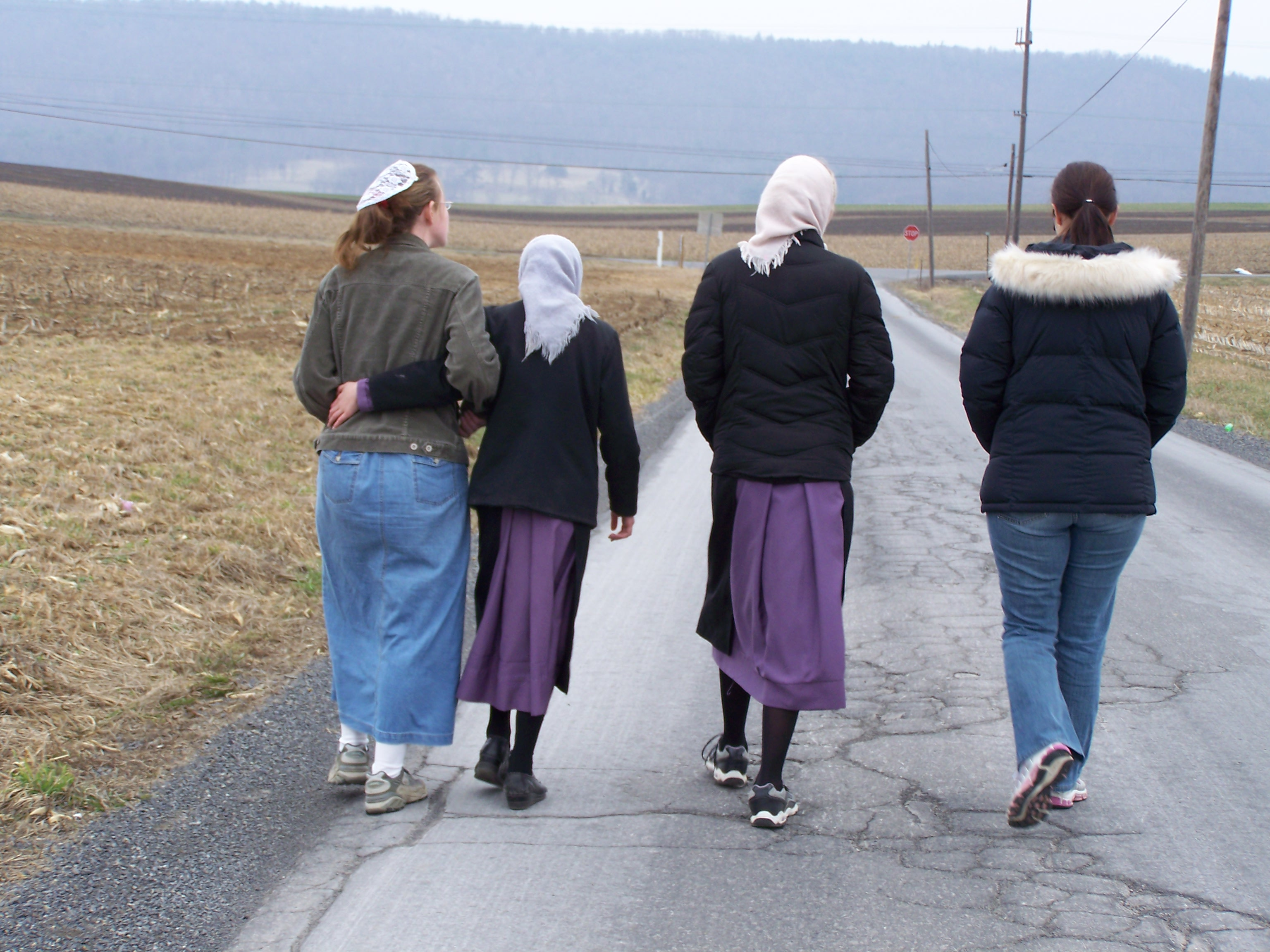 Taking a walk.  Notice, I'm the only one in pants!
