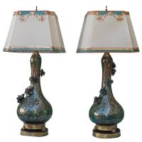 Rare Teal and Gold Murano Lamps with Flowers | Melissa ...