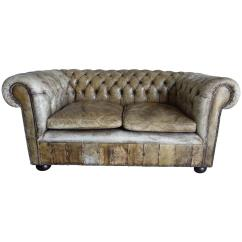 Tufted Leather Sofa With Rolled Arms Acapulco Kmart English Henredon Arm Style On