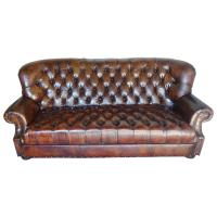 English Leather Tufted Sofa, circa 1930s | Melissa ...