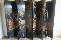 Eight-Panel Black and Gold Lacquered Chinese Screen ...